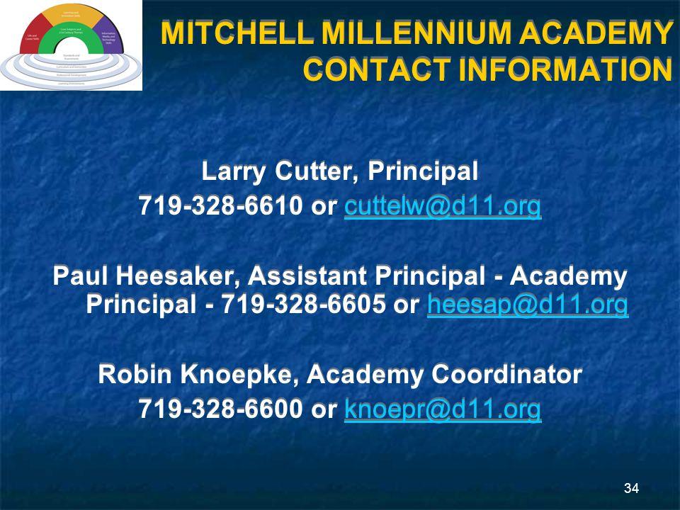 34 MITCHELL MILLENNIUM ACADEMY CONTACT INFORMATION Larry Cutter, Principal 719-328-6610 or cuttelw@d11.orgcuttelw@d11.org Paul Heesaker, Assistant Principal - Academy Principal - 719-328-6605 or heesap@d11.orgheesap@d11.org Robin Knoepke, Academy Coordinator 719-328-6600 or knoepr@d11.orgknoepr@d11.org Larry Cutter, Principal 719-328-6610 or cuttelw@d11.orgcuttelw@d11.org Paul Heesaker, Assistant Principal - Academy Principal - 719-328-6605 or heesap@d11.orgheesap@d11.org Robin Knoepke, Academy Coordinator 719-328-6600 or knoepr@d11.orgknoepr@d11.org