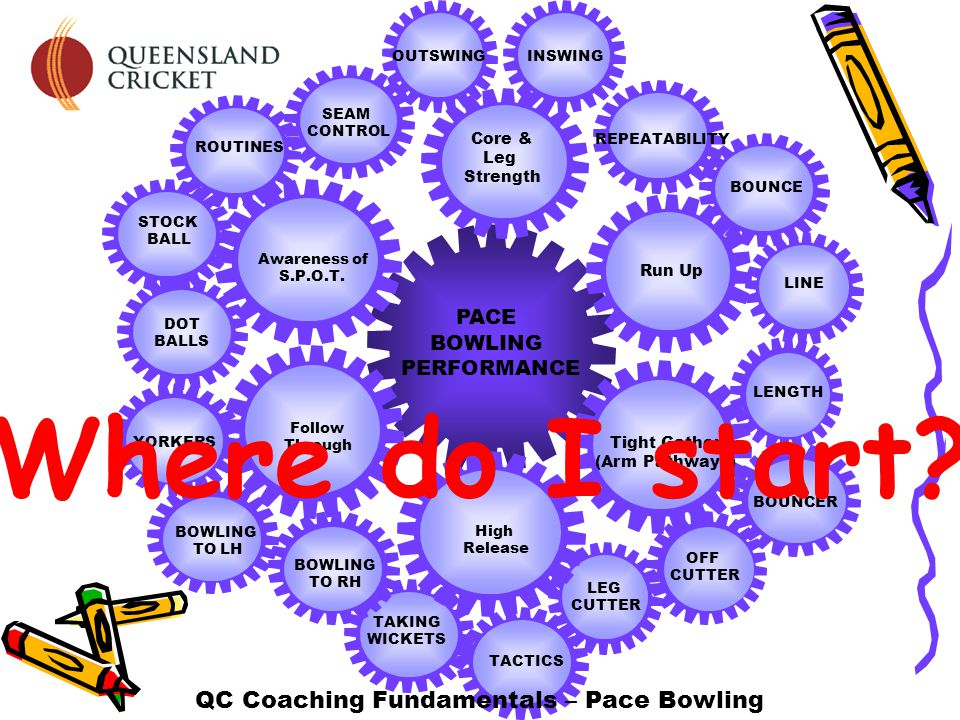 LEG CUTTER TACTICS TAKING WICKETS BOUNCER LENGTHBOUNCE REPEATABILITY LINE OUTSWINGINSWING SEAM CONTROL ROUTINES STOCK BALL DOT BALLS YORKERS BOWLING TO LH BOWLING TO RH OFF CUTTER PACE BOWLING PERFORMANCE QC Coaching Fundamentals – Pace Bowling Core & Leg Strength Awareness of S.P.O.T.