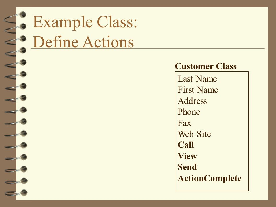 Example Class: Define Actions Last Name First Name Address Phone Fax Web Site Call View Send ActionComplete Customer Class