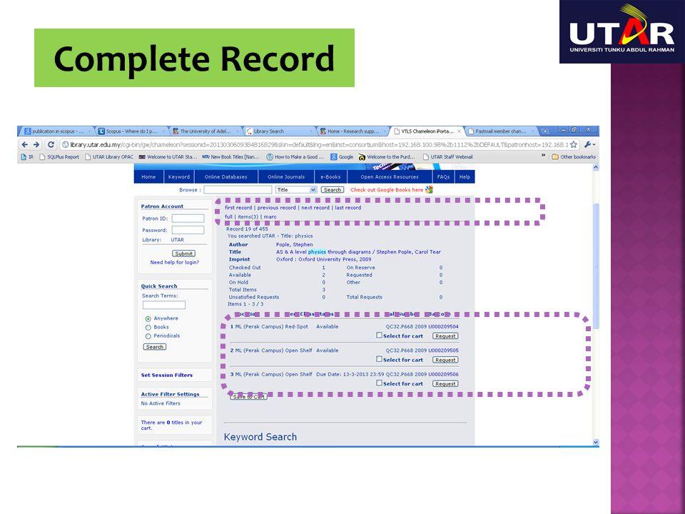 Complete Record