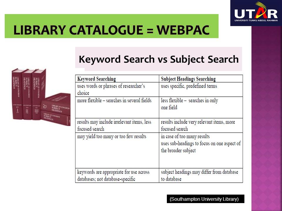 Keyword Search vs Subject Search (Southampton University Library)