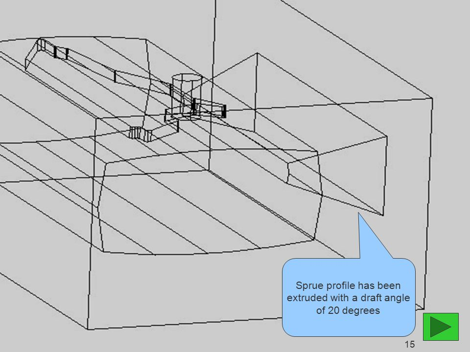 Sprue profile has been extruded with a draft angle of 20 degrees 15