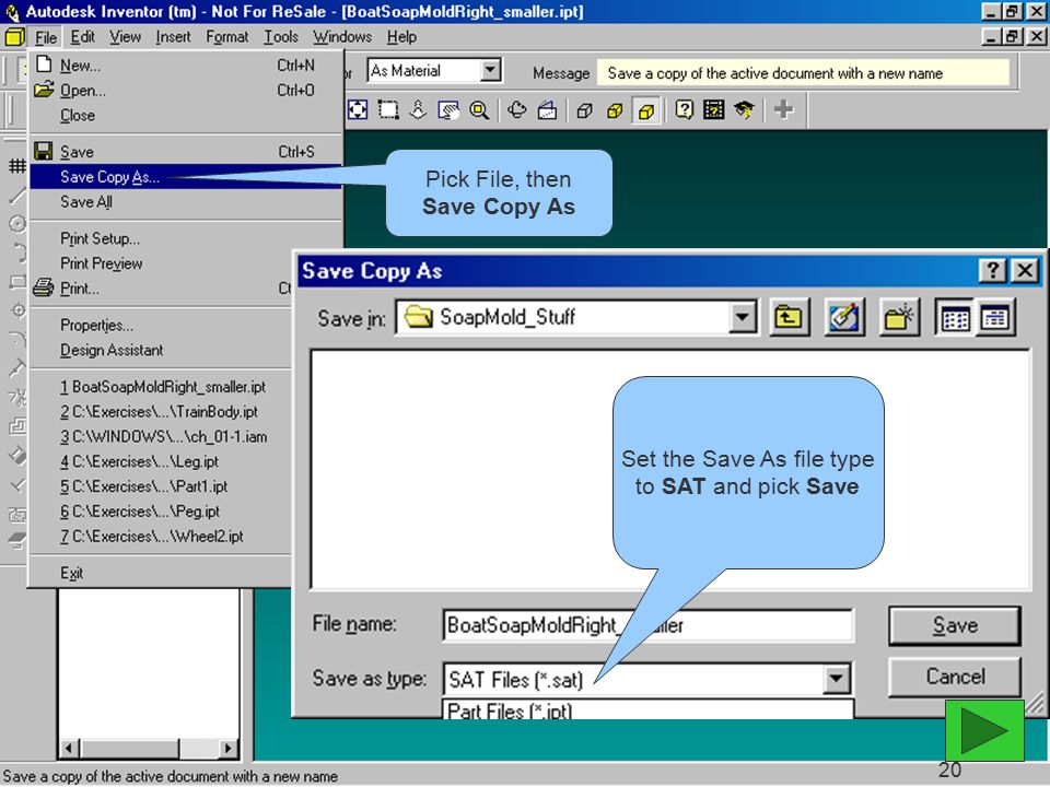 Pick File, then Save Copy As Set the Save As file type to SAT and pick Save 20