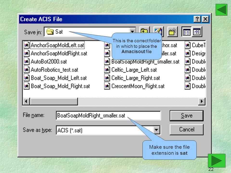 This is the correct folder in which to place the Amacisout file Make sure the file extension is sat 22