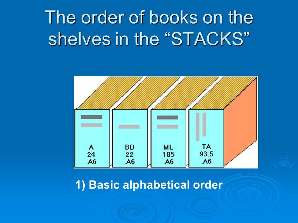 The order of books on the shelves in the STACKS 1) Basic alphabetical order