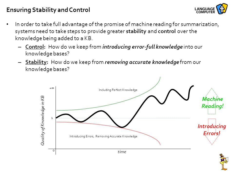 Ensuring Stability and Control In order to take full advantage of the promise of machine reading for summarization, systems need to take steps to provide greater stability and control over the knowledge being added to a KB.