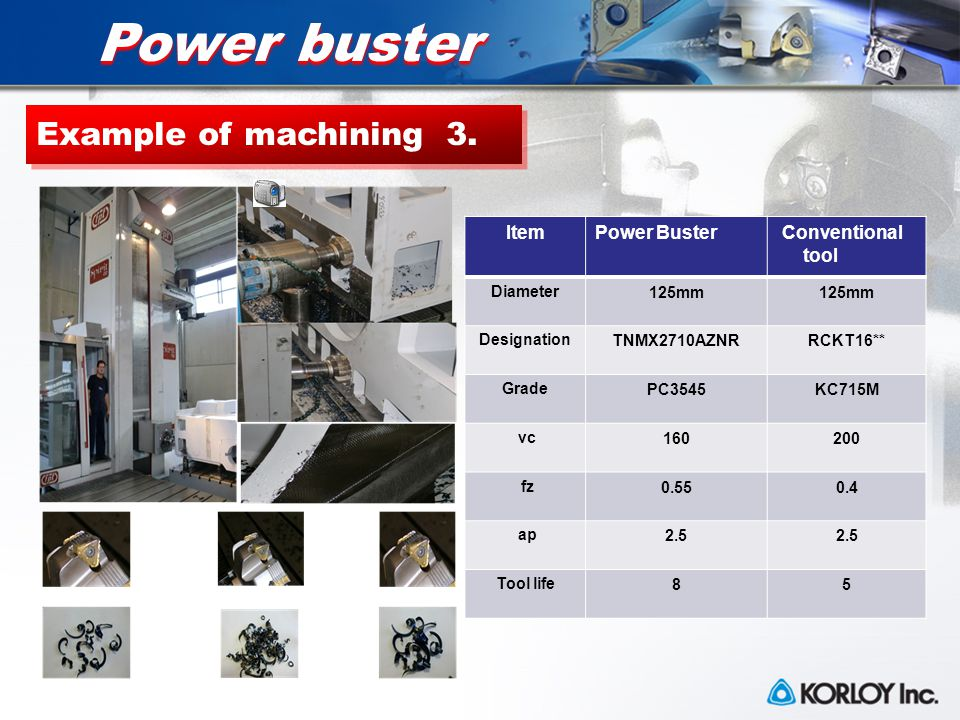 Power buster Example of machining 3.