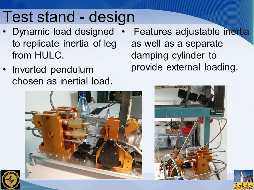 Features adjustable inertia as well as a separate damping cylinder to provide external loading.