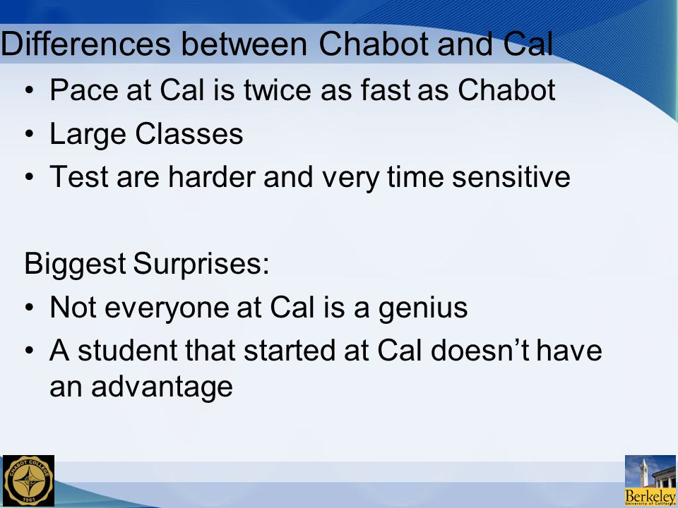 Differences between Chabot and Cal Pace at Cal is twice as fast as Chabot Large Classes Test are harder and very time sensitive Biggest Surprises: Not everyone at Cal is a genius A student that started at Cal doesn't have an advantage