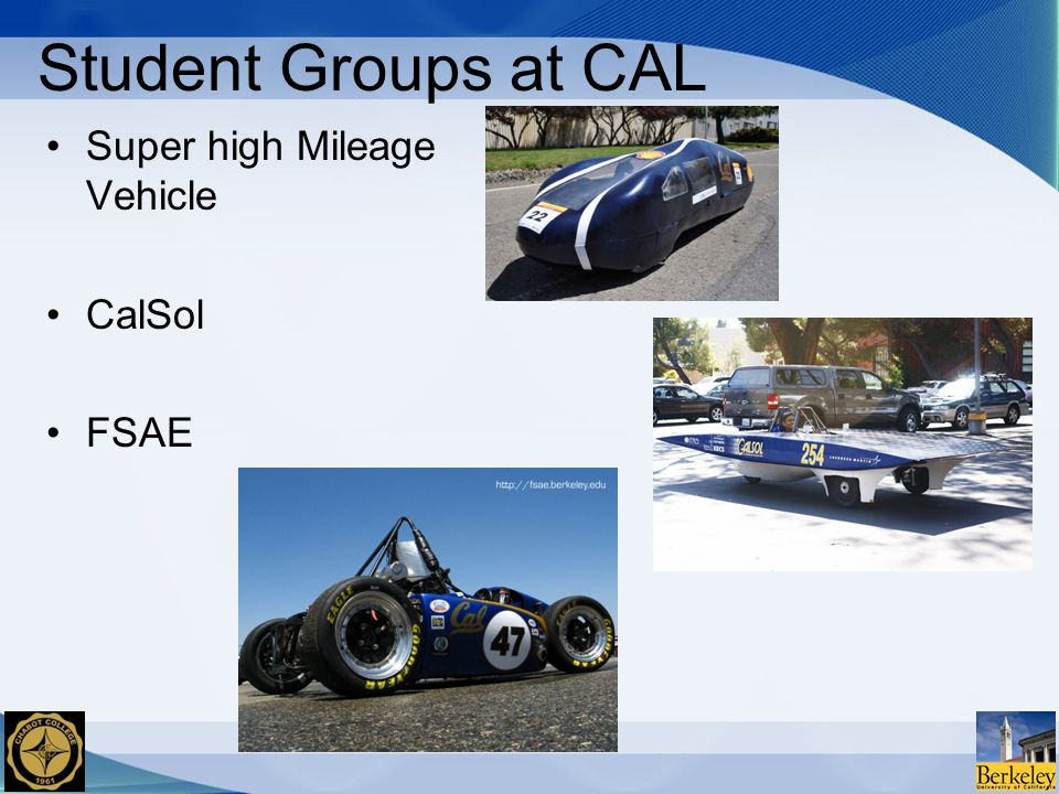 Student Groups at CAL Super high Mileage Vehicle CalSol FSAE