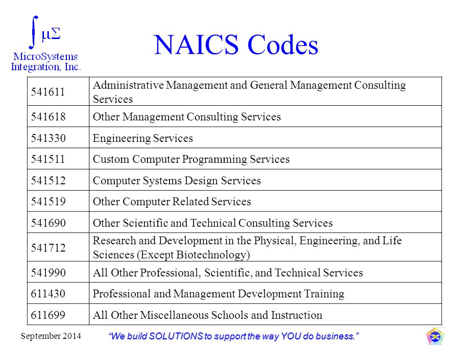 """NAICS Codes """"We build SOLUTIONS to support the way YOU do business."""" September 2014 541611 Administrative Management and General Management Consulting"""