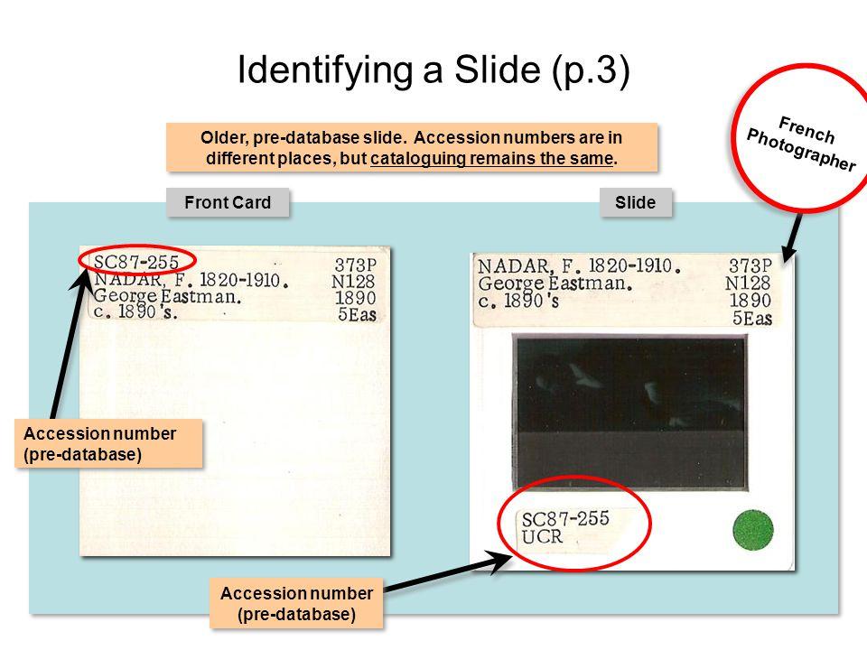 Identifying a Slide (p.3) Front Card Slide Accession number (pre-database) Older, pre-database slide.