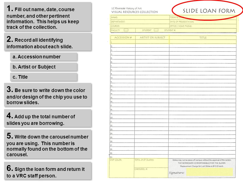 SLIDE LOAN FORM 1. Fill out name, date, course number, and other pertinent information.