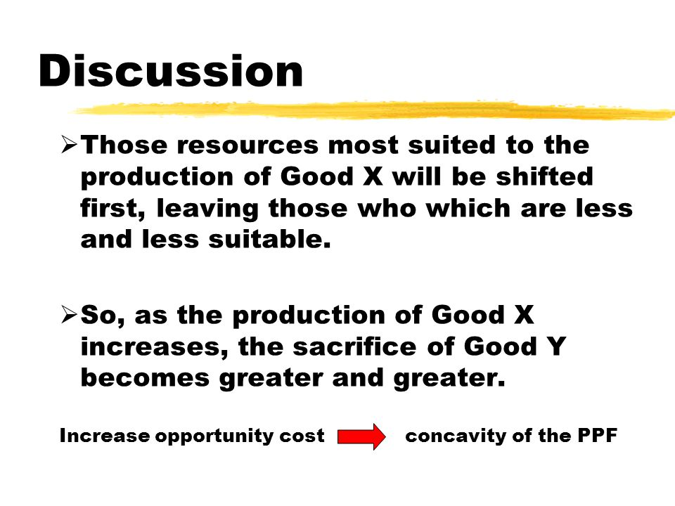 Discussion  Those resources most suited to the production of Good X will be shifted first, leaving those who which are less and less suitable.