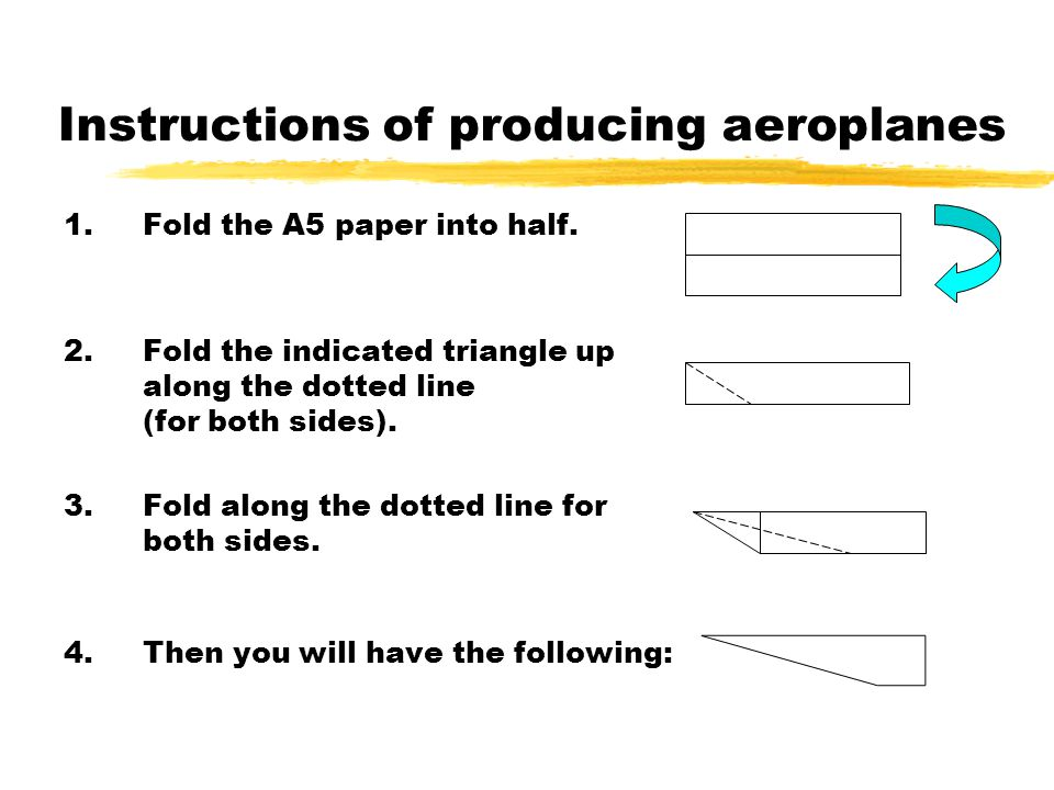 Instructions of producing aeroplanes 1.Fold the A5 paper into half.