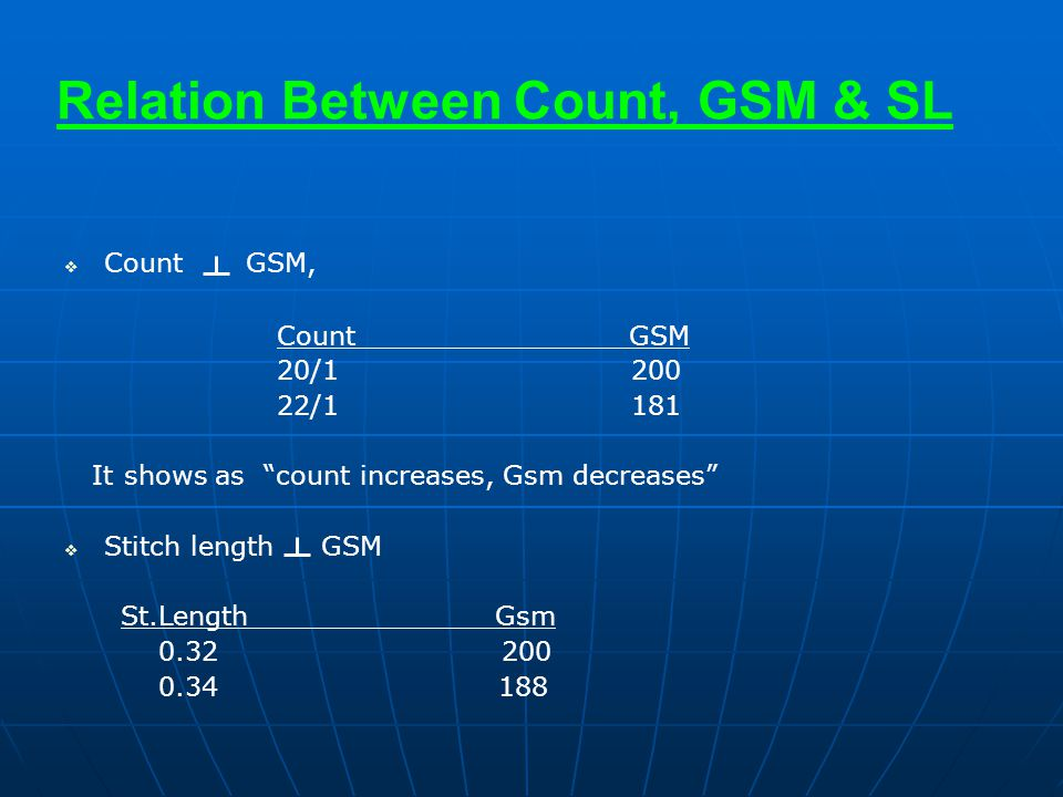 """Relation Between Count, GSM & SL   Count GSM, Count GSM 20/1 200 22/1 181 It shows as """"count increases, Gsm decreases""""   Stitch length GSM St.Leng"""