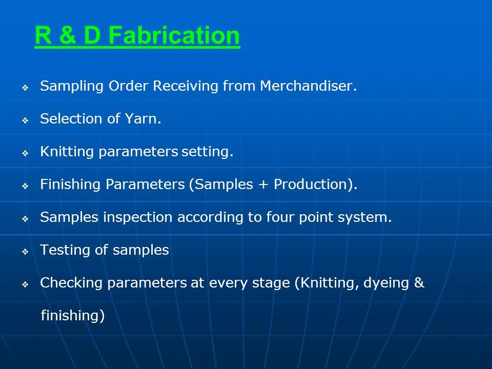 R & D Fabrication   Sampling Order Receiving from Merchandiser.   Selection of Yarn.   Knitting parameters setting.   Finishing Parameters (Sa