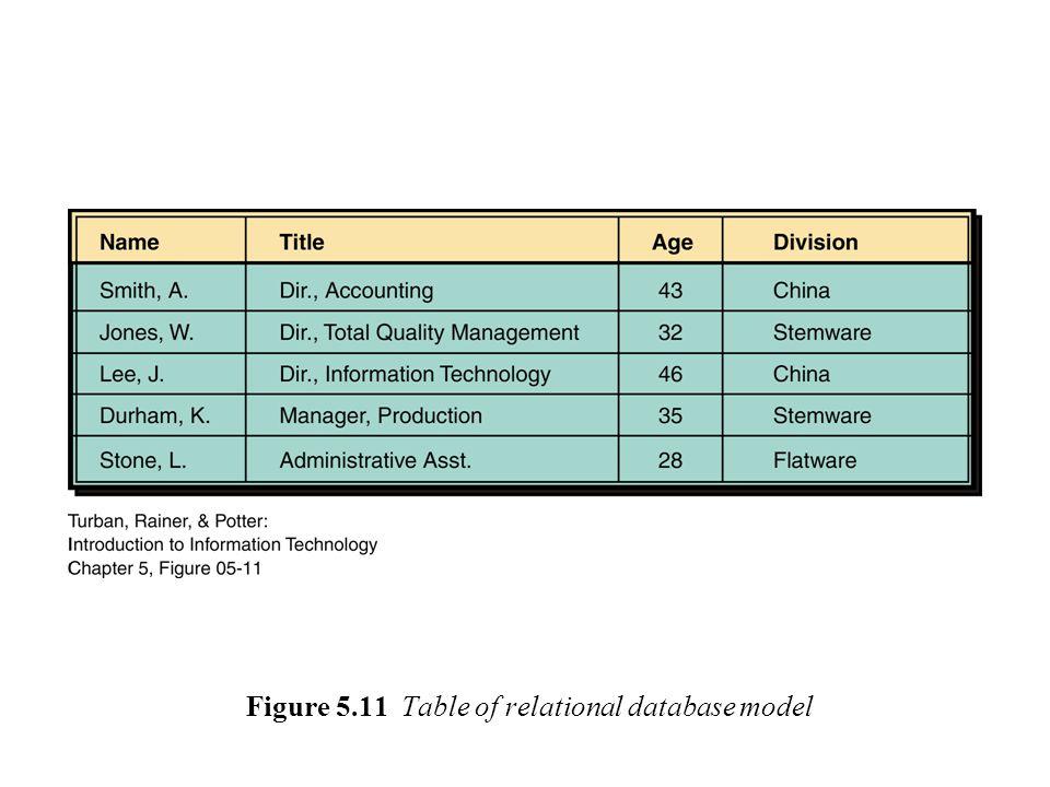 Figure 5.11 Table of relational database model