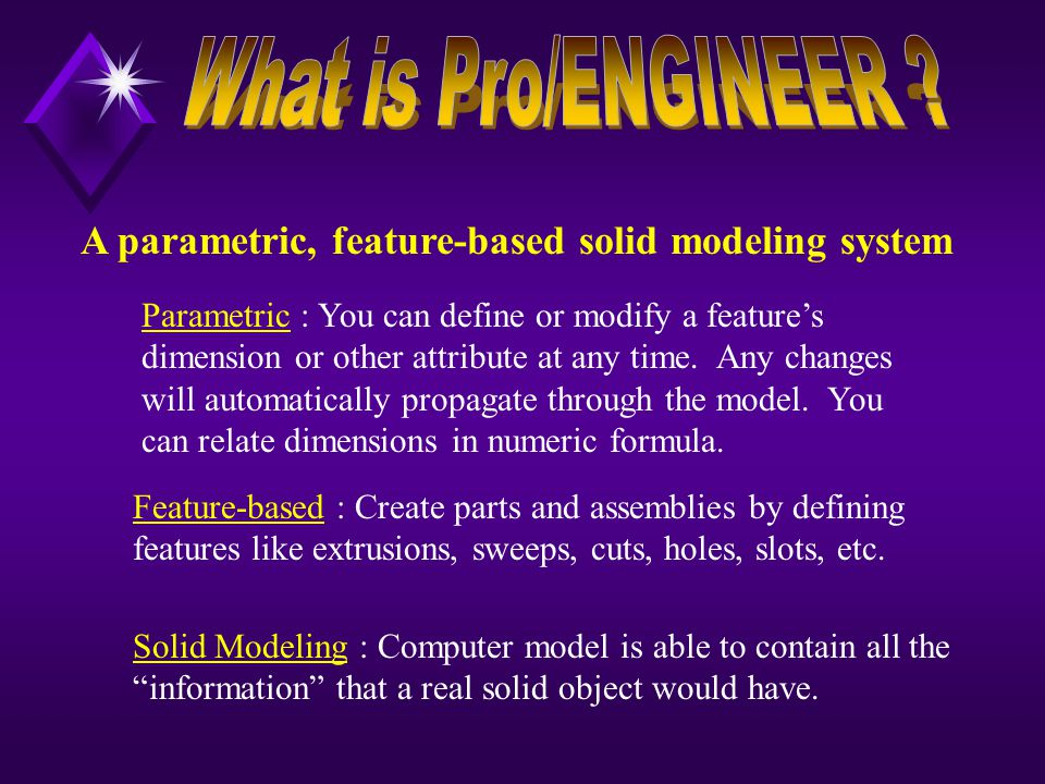 A parametric, feature-based solid modeling system Parametric : You can define or modify a feature's dimension or other attribute at any time.