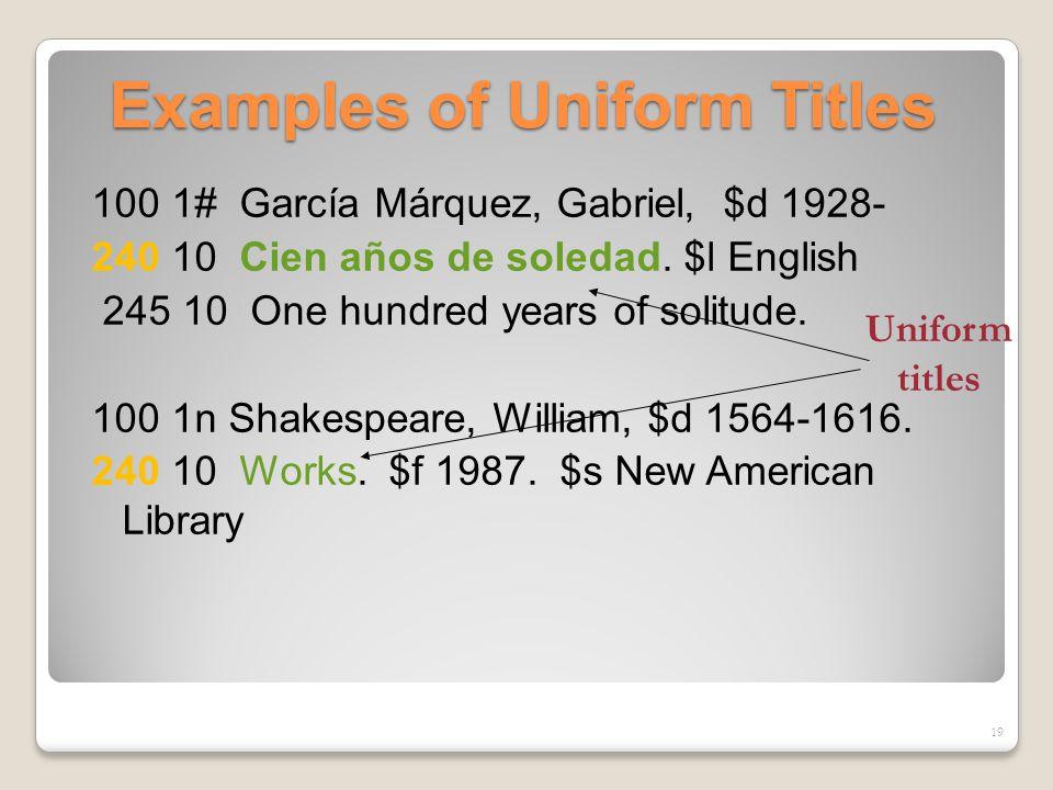 Examples of Uniform Titles 100 1# García Márquez, Gabriel, $d 1928- 240 10 Cien años de soledad.