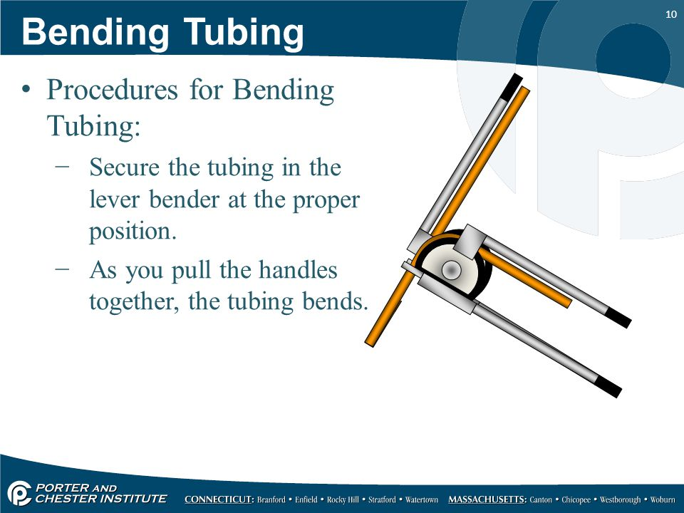 10 Procedures for Bending Tubing: −Secure the tubing in the lever bender at the proper position.