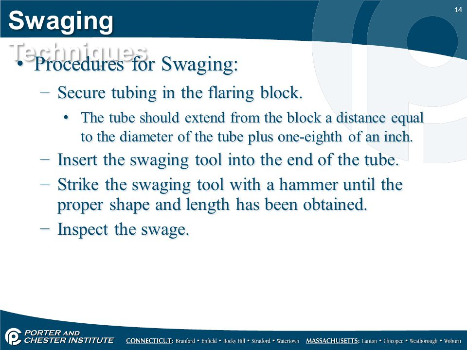 14 Swaging Techniques Procedures for Swaging: −Secure tubing in the flaring block.