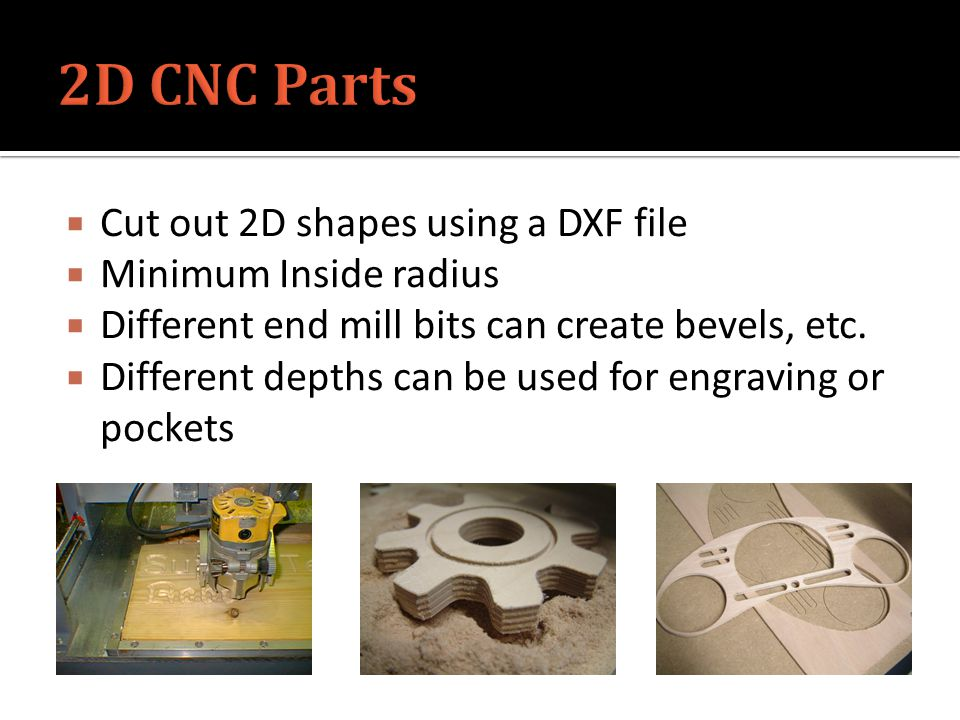  Cut out 2D shapes using a DXF file  Minimum Inside radius  Different end mill bits can create bevels, etc.