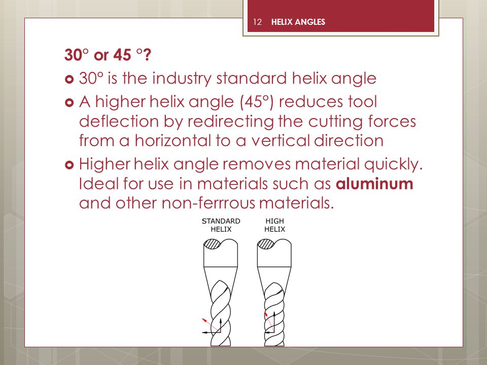 12 30° or 45 °?  30° is the industry standard helix angle  A higher helix angle (45°) reduces tool deflection by redirecting the cutting forces from