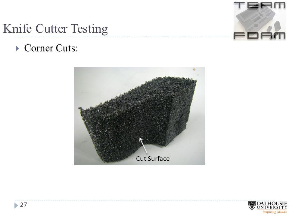 Knife Cutter Testing  Corner Cuts: 27 Cut Surface