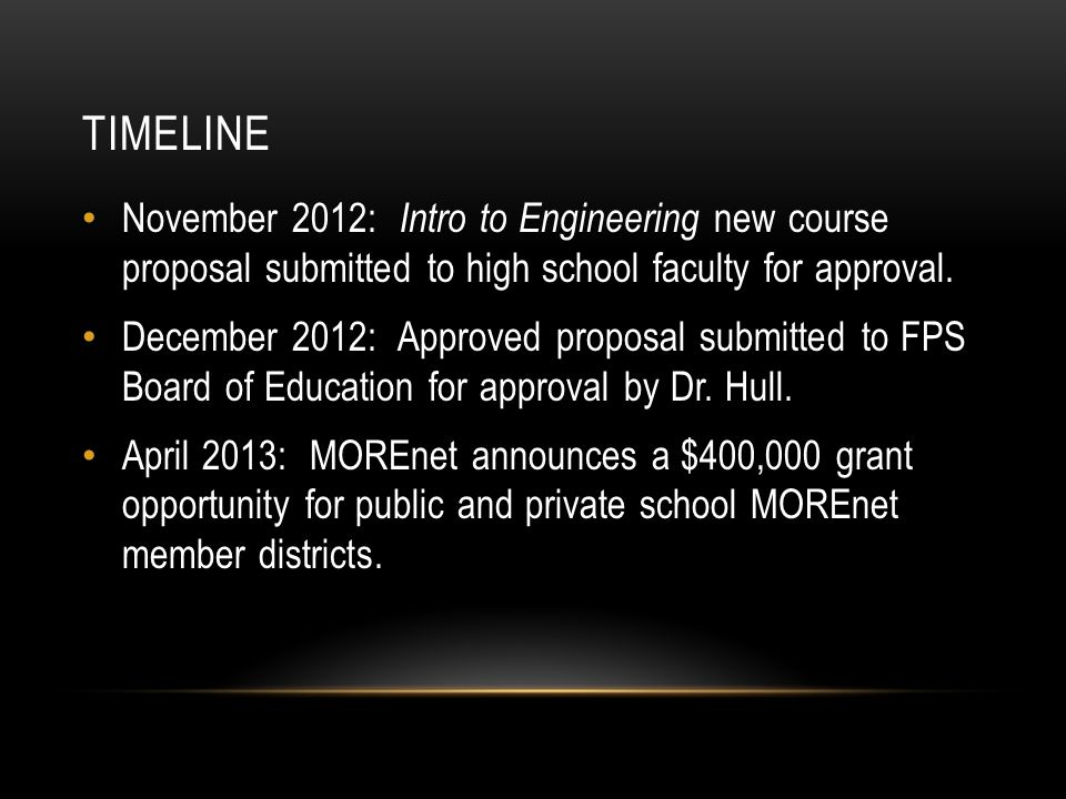 TIMELINE November 2012: Intro to Engineering new course proposal submitted to high school faculty for approval.
