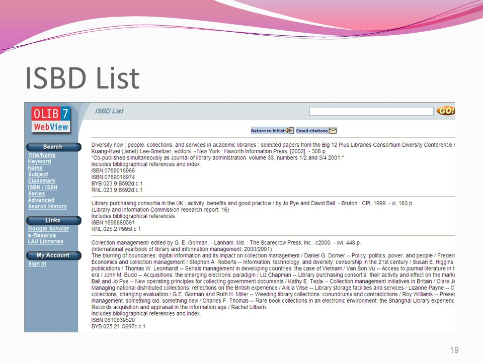 ISBD List 19