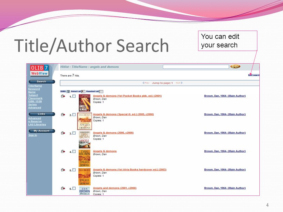 Title/Author Search 4 You can edit your search