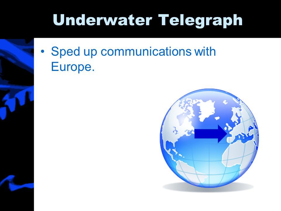Underwater Telegraph Sped up communications with Europe.