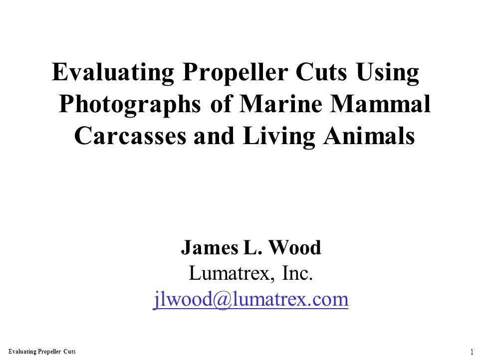 Evaluating Propeller Cuts Using Photographs of Marine Mammal Carcasses and Living Animals James L.