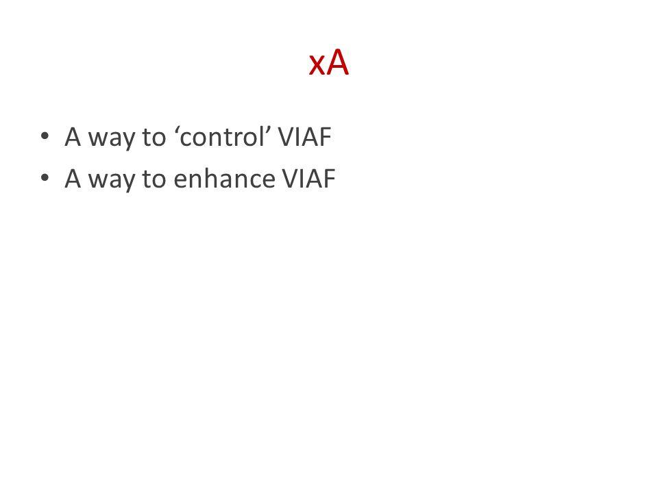 xA A way to 'control' VIAF A way to enhance VIAF
