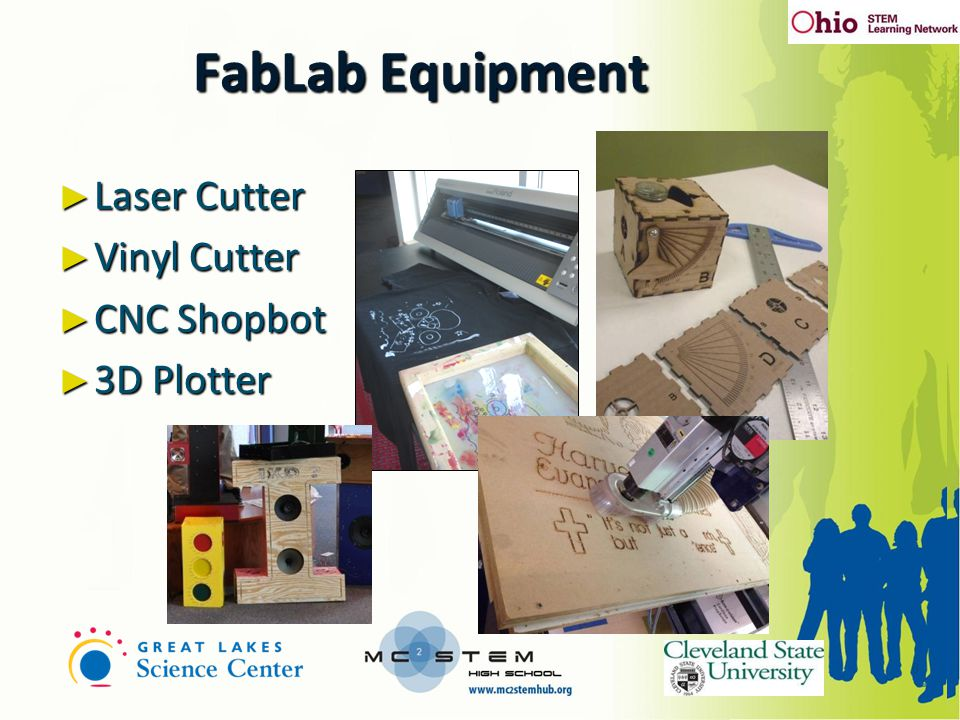 ► Laser Cutter ► Vinyl Cutter ► CNC Shopbot ► 3D Plotter 8 FabLab Equipment