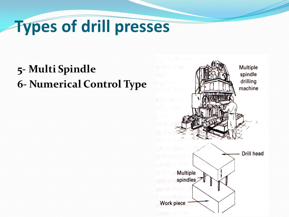 Types of drill presses 5- Multi Spindle 6- Numerical Control Type