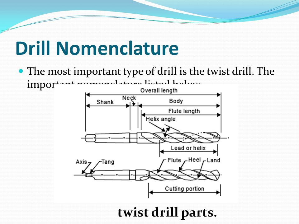 Drill Nomenclature The most important type of drill is the twist drill.