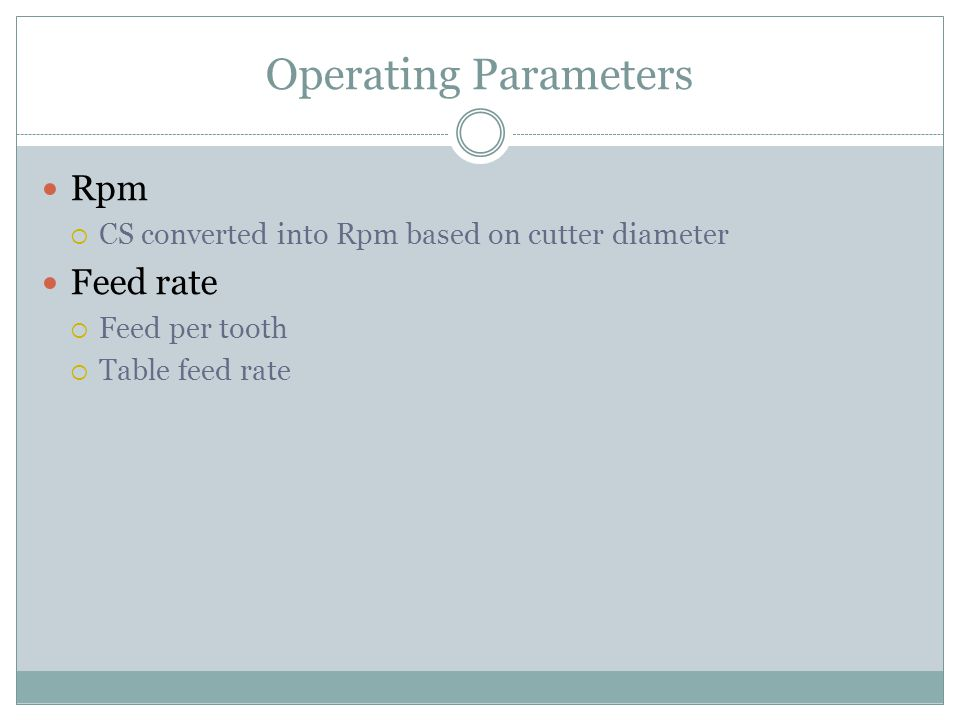 Operating Parameters Rpm  CS converted into Rpm based on cutter diameter Feed rate  Feed per tooth  Table feed rate