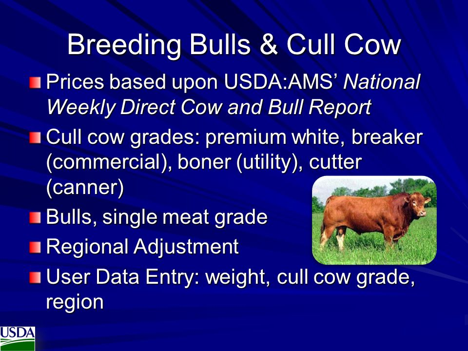Breeding Bulls & Cull Cow Prices based upon USDA:AMS' National Weekly Direct Cow and Bull Report Cull cow grades: premium white, breaker (commercial),