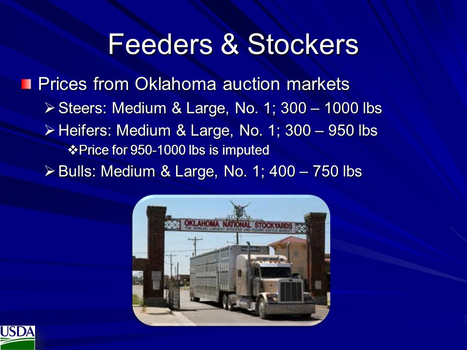 Feeders & Stockers Prices from Oklahoma auction markets  Steers: Medium & Large, No. 1; 300 – 1000 lbs  Heifers: Medium & Large, No. 1; 300 – 950 lb