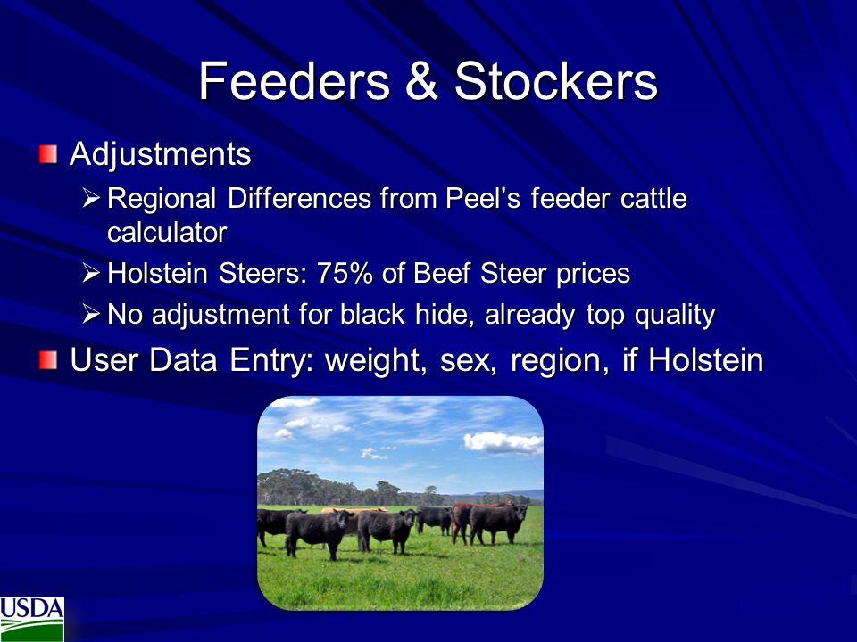 Feeders & Stockers Adjustments  Regional Differences from Peel's feeder cattle calculator  Holstein Steers: 75% of Beef Steer prices  No adjustment