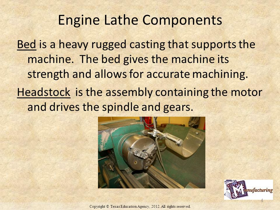 Engine Lathe Components Bed is a heavy rugged casting that supports the machine.