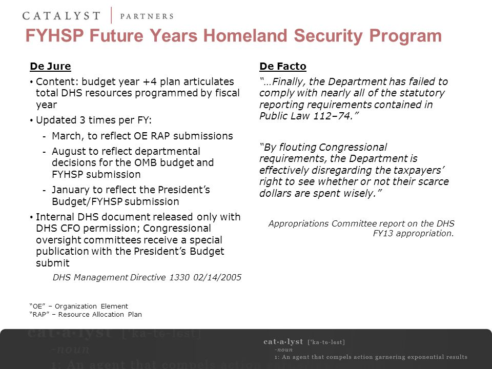 FYHSP Future Years Homeland Security Program De Jure Content: budget year +4 plan articulates total DHS resources programmed by fiscal year Updated 3