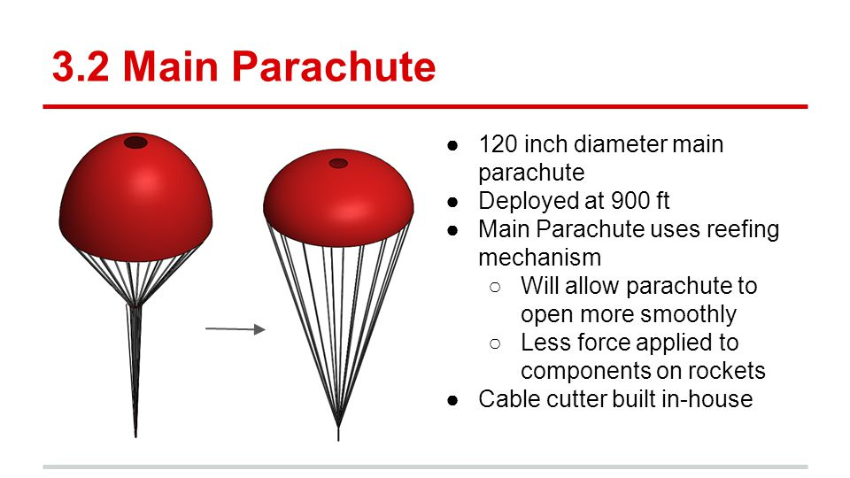 3.2 Main Parachute ●120 inch diameter main parachute ●Deployed at 900 ft ●Main Parachute uses reefing mechanism ○Will allow parachute to open more smo