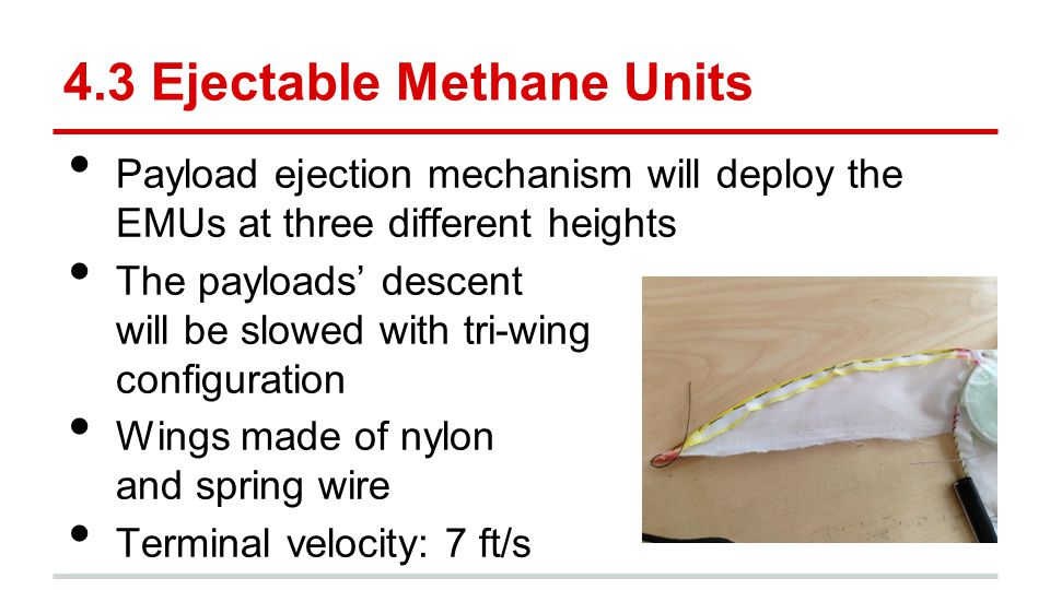 4.3 Ejectable Methane Units Payload ejection mechanism will deploy the EMUs at three different heights The payloads' descent will be slowed with tri-w