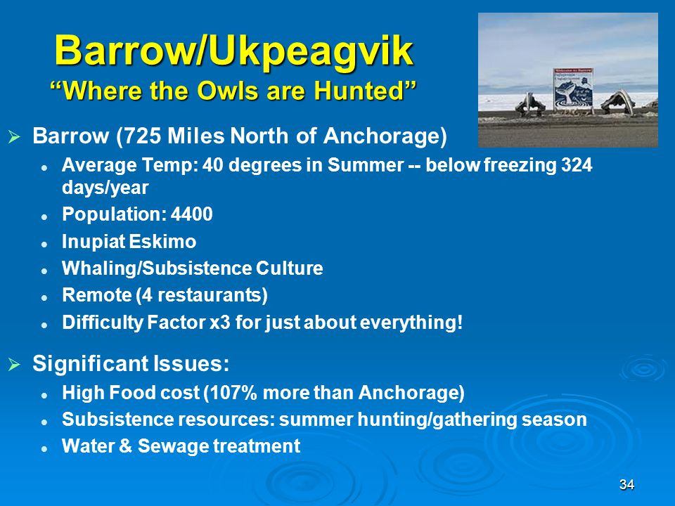 "Barrow/Ukpeagvik ""Where the Owls are Hunted""   Barrow (725 Miles North of Anchorage) Average Temp: 40 degrees in Summer -- below freezing 324 days/y"