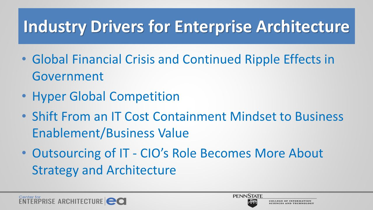 Center for Enterprise Architecture: Major Goals for the Coming Year