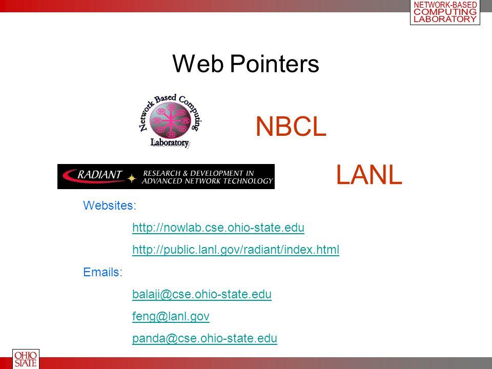 Web Pointers Websites: http://nowlab.cse.ohio-state.edu http://public.lanl.gov/radiant/index.html Emails: balaji@cse.ohio-state.edu feng@lanl.gov pand