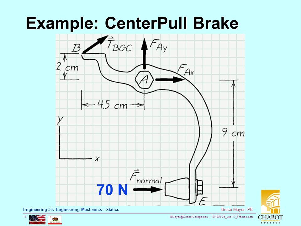 BMayer@ChabotCollege.edu ENGR-36_Lec-17_Frames.pptx 11 Bruce Mayer, PE Engineering-36: Engineering Mechanics - Statics Example: CenterPull Brake 70 N